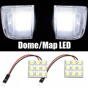 2 X 9smd 5050 Led Light Panel Cool White Car T10 Ba9s Festoon Dome Bulb Adapter