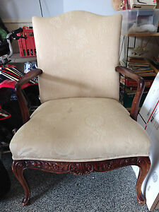 Antique Karpen Fireside Carved Mahogany Chair 37 X 26 X 26 Labeled Circa 1900