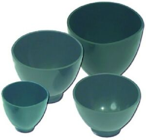 Dental Lab Flexible Green Mixing Bowls 4 piece Set Small Medium Large X large