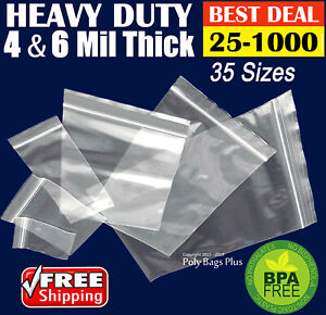 Clear 4 mil Ziplock Bags Heavy duty Reclosable Zip Top Plastic Zipper Poly Ml
