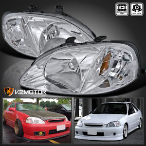 For 1999 2000 Honda Civic Headlights Head Lamps Chrome Replacement Pair