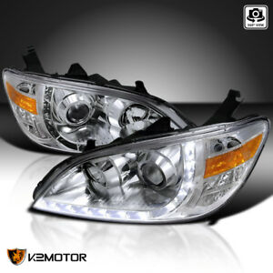 For Honda 2004 2005 Civic Replacement Led Strip Clear Projector Headlights Pair