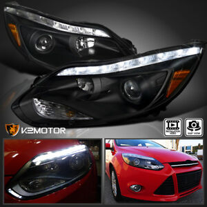 2012 2014 Ford Focus Led Drl Signal Strip Projector Headlights Black Pair