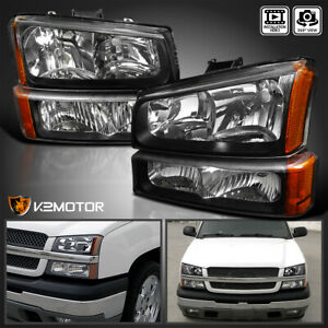 For 2003 2007 Chevy Silverado Black Headlights Bumper Parking Lights Lamps 4pc