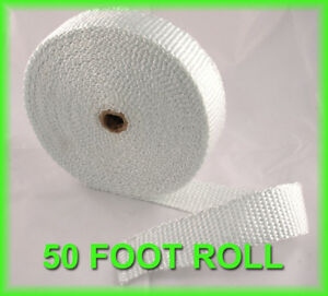 Exhaust Wrap Header Pipe Heat Tape Insulation Thick 1 8 X 2 X 50 Feet White