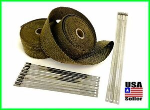 Titanium Lava Exhaust Header Pipe Heat Wrap 2 Rolls 2 x25 Stainless Lock Ties
