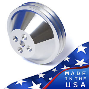 Billet Aluminum Small Block Chevy Water Pump Pulley 2 Groove Swp 350 Short Sbc
