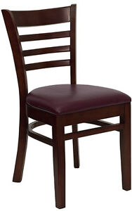 Lot Of 100 Wood Mahogany Ladder Back Restaurant Dining Chairs Burgundy Seat