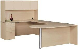 New Amber Bullet U shape Computer Corner Executive Office Desk With Hutch