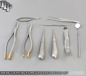 10 Pcs Basic Dental Oral Extraction Forceps Elevators Kit