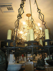 Large Antique Wrought Iron Chandelier Spanish Mediterreanen Style Electrified
