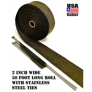 Thermal Header Pipe Tape Titanium Lava Exhaust Wrap 2 X 50ft Stainless Ties Kit