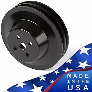 Black Aluminum Ford Water Pump Pulley 289 302 351w V Belt Sbf 2 Groove V Belt