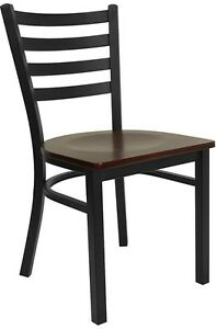 30 Mahogany Seat Metal Ladder Back Restaurant Dining Chairs