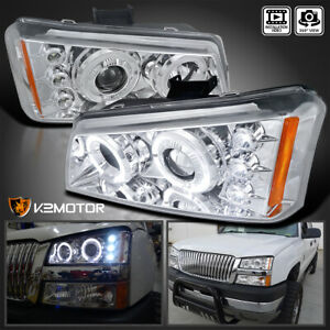 Fits 2003 2007 Chevy Silverado Clear Led Halo Projector Headlights Left Right
