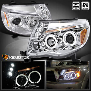 For 2005 2011 Toyota Tacoma Led Halo Projector Headlights Pair Left right