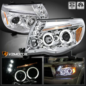 For 2005 2011 Toyota Tacoma Led Halo Clear Projector Headlights Left right