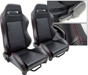 New 1 Pair Black Leather Red Stitch Racing Seats All Ford