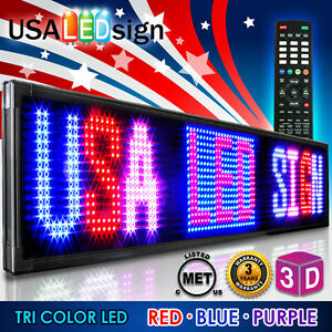 78 X 28 Led Sign 3 Color Rbp Programmable Scrolling Outdoor Message Display