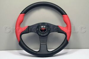 Nardi Personal Thunder Steering Wheel 350mm Black Red Perforated Leather