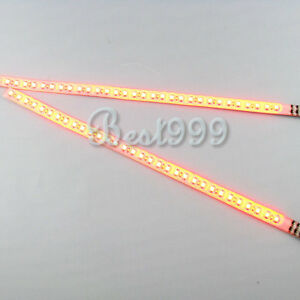 2x Amber Yellow 30cm 32 Leds 3528 1210 Smd Led Strip Light Flash Waterproof 12v