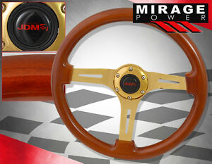 For Vw Classic Old School Brown Wood Grain Steel Gold Center Steering Wheel 345m