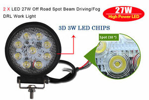 2x 27w Led Work Light Round Spot Beam Off Road Driving Fog Lamp Truck Atv Suv