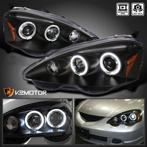 For 2002 2004 Acura Rsx Led Halo Rims Projector Headlights Lamp Black Left Right