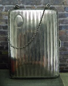 Antique Vintage Hallmark Fp Sterling Silver Calling Card Case