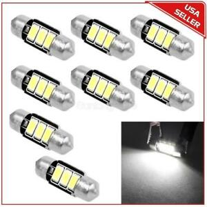 8pcs Super White 31mm 3smd 5730 Led Canbus Dome Map Interior Light 3022 3021