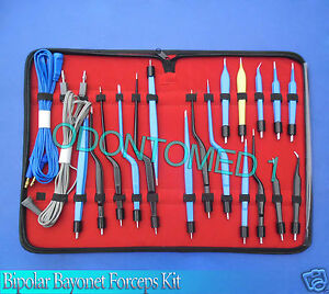 High Class Bipolar Bayonet Forceps Electrosurgical Instruments Set odm 0074