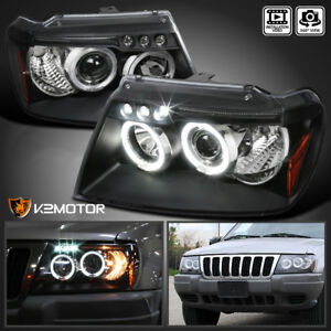 Black 1999 2004 Jeep Grand Cherokee Led Halo Projector Headlights Left right