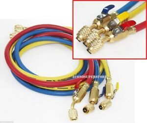 R134a R410a R22 3 Color 5ft Hvac Ac Charging Hoses 1 4 Fitting W Ball Valves