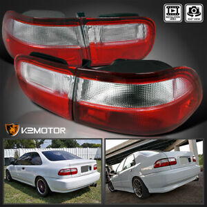 For 92 95 Honda Civic 2dr 4dr Jdm Red Clear Tail Lights Brake Lamps