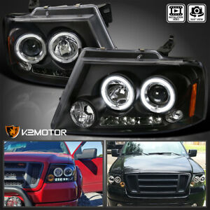 For 2004 2008 Ford F150 Led Dual Halo Projector Headlights Black Pair Left right