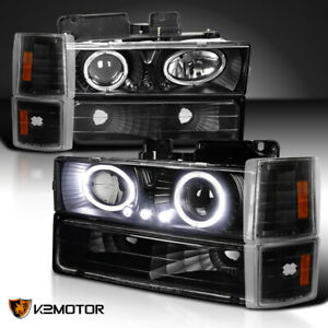 94 98 Gmc C k Yukon Sierra Halo Led Black Projector Headlights corner bumper