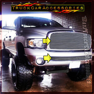 For Dodge 1500 2500 3500 Ram 2002 2005 2pc Polished Grille Combo Upper Wo bumper