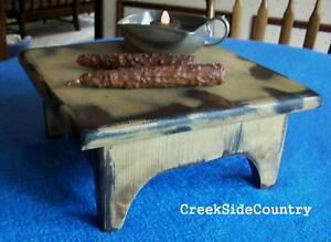 Shabby Cottage Chic Finish Wood Table Top Bench Riser Stool