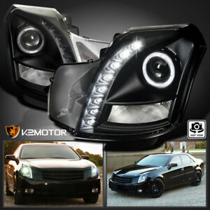 For 2003 2007 Cadillac Cts Smd Led Halo Projector Headlights Black Left Right