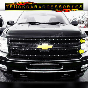 For Chevy Silverado 2500 3500 hd 2011 2014 Black Mesh Steel Overlay 2pc Grilles