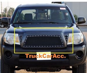 For 2005 06 07 08 09 10 Toyota Tacoma Black Wire Mesh Rivet Stud Grille Insert