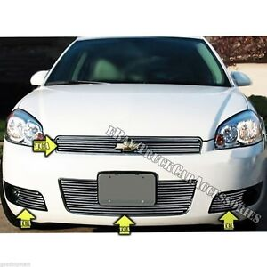 For 06 07 08 09 10 11 12 Chevy Impala Ss Grille Combo Upper Bumper Logo 5pc Bolt