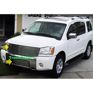 For 2004 2005 2006 2007 Nissan Titan Armada 2pc Grille Combo Replacement Wo Logo