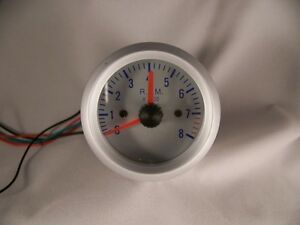 2 Tachometer Gauge Silver With Silver Face Blue Numbers 2 In Tach