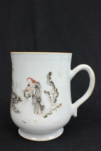 Rare 17 18c Antique Chinese Export European Scene Large Porcelain Mug 6 5