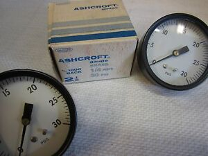 2 Ashcroft No 1000 Brass Back Mount Gauges 1 4 Npt 30psi 1 New