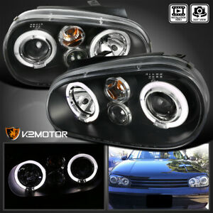 For 1999 2005 Vw Golf Gti R32 Mk4 Black Led Halo Projector Headlights Left Right