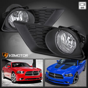 For 2011 2014 Dodge Charger Clear Bumper Fog Lights Lamps bulbs switch Kit