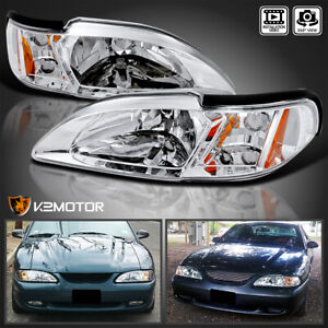 Fits 94 98 Ford Mustang Clear 1pc Style Clear Headlights Corner Signal Lamps L r