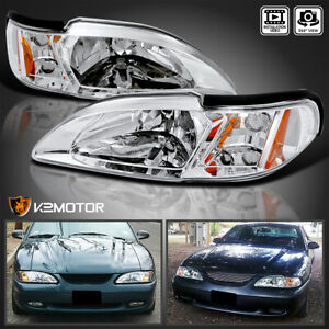 For 1994 1998 Ford Mustang Clear 2in1 Headlights W Built In Corner Signal La
